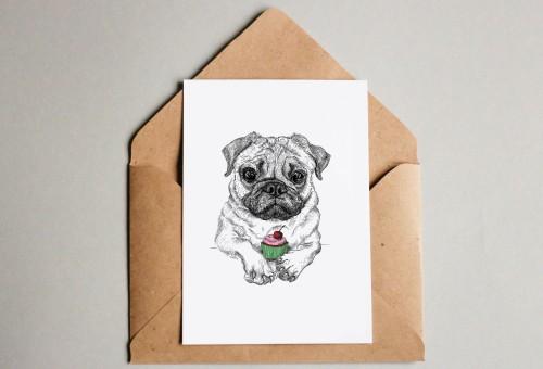 Pug with cupcake